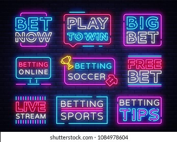 Collection Betting neon signs. Set neon banners Gambling slogan, Casino, Betting design element, Night neon signboard, night bright advertising. Vector illustration