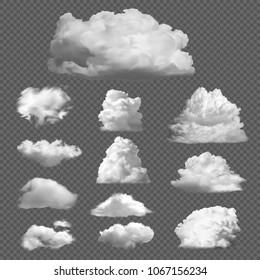 Collection big set of realistic white clouds on a transparent background. Templates of white fluffy clouds, fog, smoke. Vector illustration isolated.