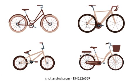 Collection of bike isolated on white background. BMX, Racing, Fixie, Woman's bike. Flat design vector illustration.