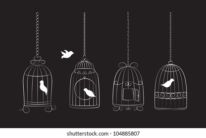 Collection of bird cages with birds isolated on black background