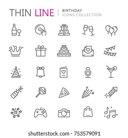 Collection of birhtday thin line icons. Vector eps8