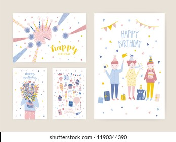 Collection Of Birthday Greeting Card Postcard Or Party Invitation Templates With Happy People Cake