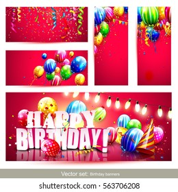 Collection of birthday party banners or headers with colorful balloons on red background