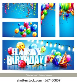 Collection of birthday party banners or headers with colorful balloons on blue background