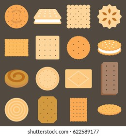 Collection of biscuit in flat design