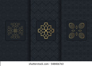 Collection of black backgrounds and golden elements. Set of labels, icons, logos and seamless patterns. Templates with luxury foil for packaging