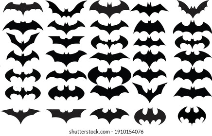 Collection of black bat Sticker or symbols