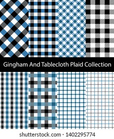 Collection of Black and Blue Gingham / Tablecloth patterns. Seamless checkered and square texture backgrounds.