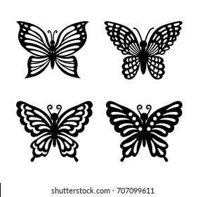 Collection of black butterflies isolated on transparent background. Laser cut vector set. Silhouettes flying insects for icons. Wood carving template for wedding invitation, greeting card.