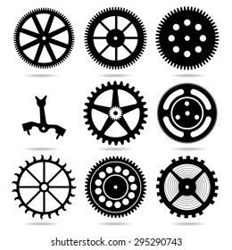 Collection of black gears and anchor on white background