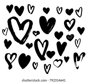 Collection black Hearts illustration. Hand drawn Brush pen painting. Valentine's day romantic style.