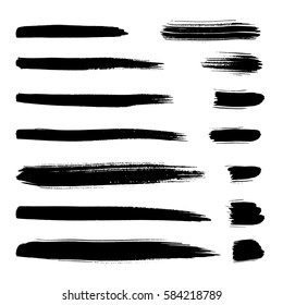 Collection of black ink brush strokes. Vector grunge splatter stains isolated on white background. Artistic backdrop for logos, banners and headlines.