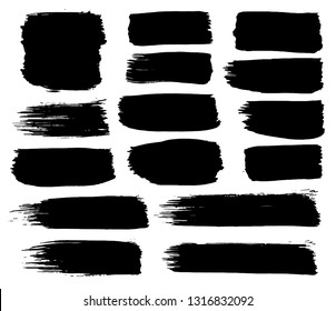 Collection of black paint, ink brush strokes, brushes, lines. Dirty artistic design elements, boxes, frames. Vector illustration. Isolated on white background. Freehand drawing.