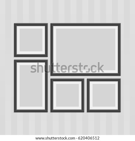 Collection Black Photo Frames Shadow Effects Stock Vector Royalty