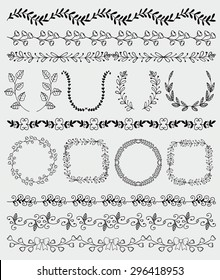 Collection of Black Seamless Hand Sketched Artistic Rustic  Decorative Doodle Vintage Borders and Frames, Branches and Brackets. Design Elements. Hand Drawn Vector Illustration. Pattern Brashes