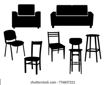 Collection black silhouette of chairs icon interior furniture Old style armchair. Vector flat illustration EPS