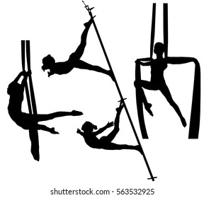 Collection of black silhouettes of air gymnasts on canvas. Aerial acrobatics.