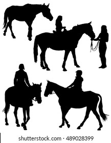 Collection of black silhouettes of equestrians on horses. Horses on a walk, children riding. Horse riding. The woman rider.