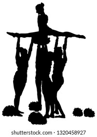 Collection of black silhouettes of girls of cheerleaders on a white background. Sport, training. performance, cheerleading, support.