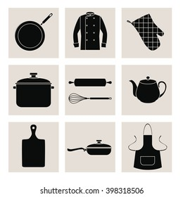 Collection of black silhouettes of kitchen devices and clothes. Set of black flat icons on pale gray squares. EPS 10..