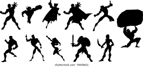 Collection of black silhouettes of superheroes