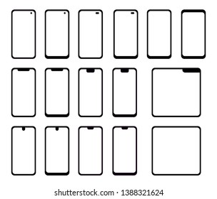 A collection of black, simple and abstract modern mobile phone icons with transparent screens and different designs.