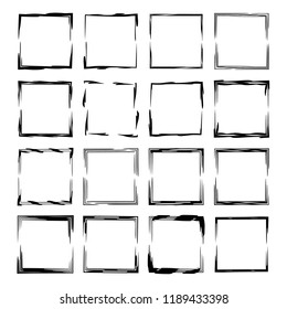 Collection of black square grunge frames. Geometric empty borders.  Vector illustration.