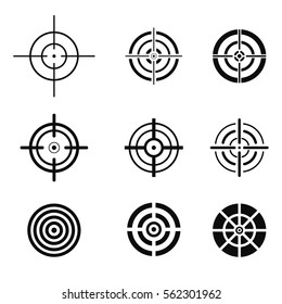 Collection of black target icons. Aim signs set. Vector illustration.