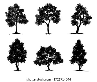 collection black tree Symbol style and white background. Can be used for your work.