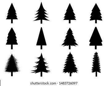 Collection of Black trees Icon. Can be used to illustrate any nature or healthy lifestyle topic.
