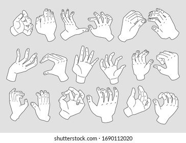 Collection of black and white cartoon hand illustrations. Isolated on grey background. Soap, sanitizer, cream package design elements.