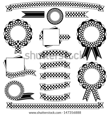 Collection Black White Checkered Ribbons Banners Stock Vector