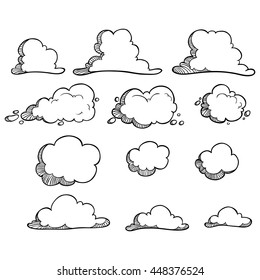 Collection of black and white clouds with hand drawing style