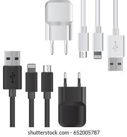 Collection of black and white realistic connect ports and charges mock up Vector