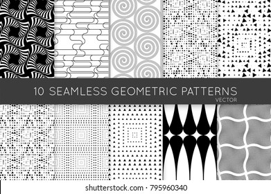 Collection of black and white seamless patterns. Simple monochrome geometric texture. Abstract design elements in set.
