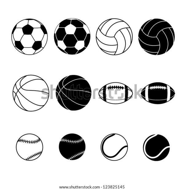 Collection Black White Sports Balls Vector Stock Vector Royalty Free 123825145
