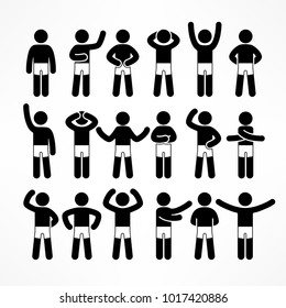 Collection of black & white stick figures with different poses, human icon symbol sign, vector illustration