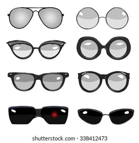 collection of black and white vector retro fashion glasses, set of cartoon comic glasses of different famous persons