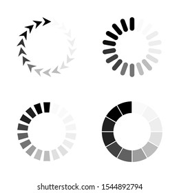 Collection black-white preloaders. Vector illustration. Isolated on white background.