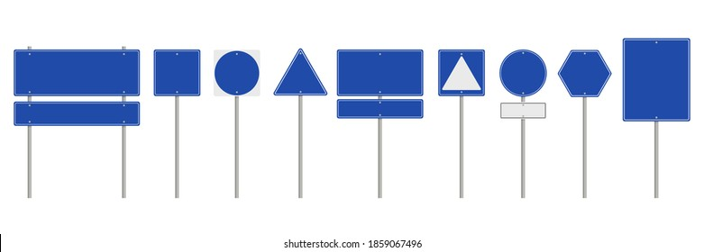 Collection of blank blue road sign or Empty traffic signs isolated on white background