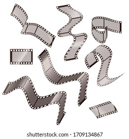 Collection of blank cinema film strip frames with different shape. Vector illustration isolated on white background.