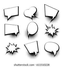 Collection blank template comic text speech bubble halftone dot background style pop art. Dialog empty cloud, space box pop art. Creative idea conversation white comic book balloon sketch explosion