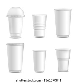 Collection of blank white plastic cup mockups for branding, set of different empty isolated hot drink containers in realistic 3d style. Vector illustration on white background.