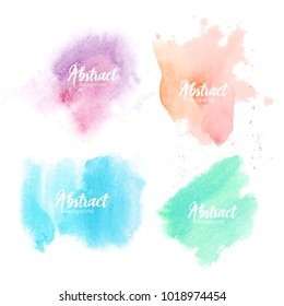 Collection of blots hand painted with watercolor isolated on white background. Bundle of artistic paint smears of various pastel colors. Set of aquarelle backdrops. Colorful vector illustration.