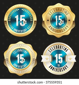 Collection of blue 15th anniversary badges with gold border