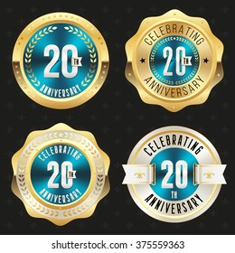 Collection of blue 20th anniversary badges with gold border