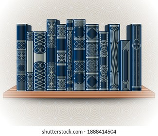 Collection of blue books on a bookshelf on a background of light wallpaper. Ornate book spines with space for text. Vector illustration