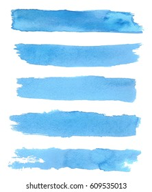 Collection of blue brushes. Blue watercolor backgrounds. Blue grungy smears and strokes