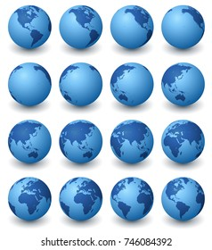 A collection of blue earth globes in sixteen rotated views against a white background.