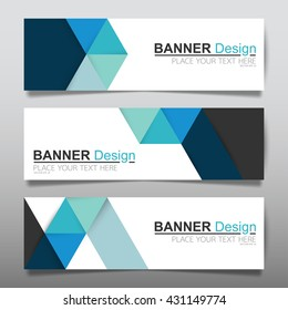 Collection blue horizontal business banner set templates vector. clean modern geometric abstract background layout for website design. simple creative cover header. in rectangle size.